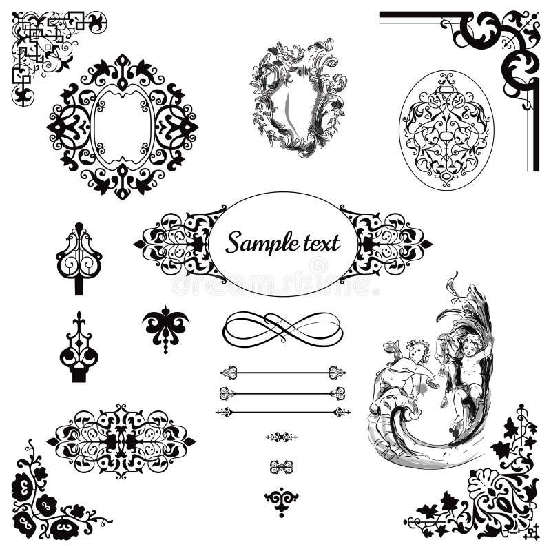 Uitstekende patroon en kader vastgestelde grafisch in barokke stijl stock illustratie