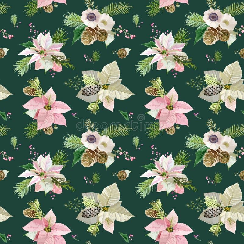 Uitstekende Poinsettiaachtergrond royalty-vrije illustratie