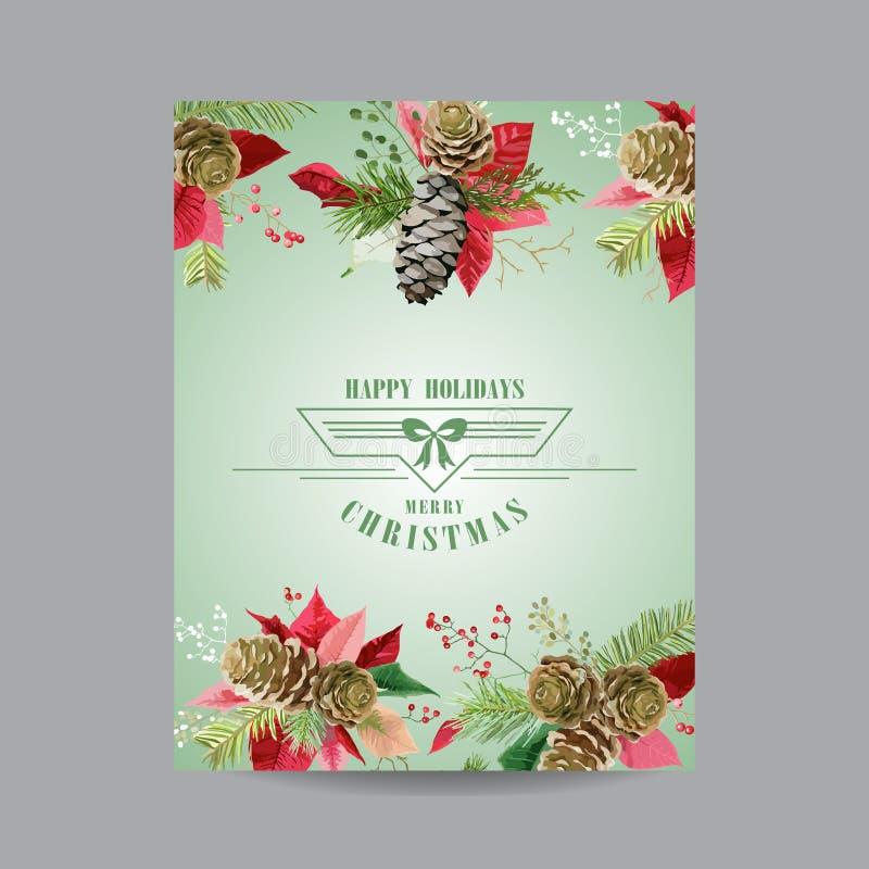 Uitstekende Poinsettiakerstkaart - de Winterachtergrond vector illustratie
