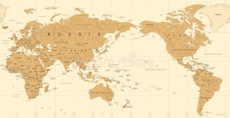 Uitstekende Politieke Wereldkaart Gecentreerde de Stille Oceaan royalty-vrije illustratie