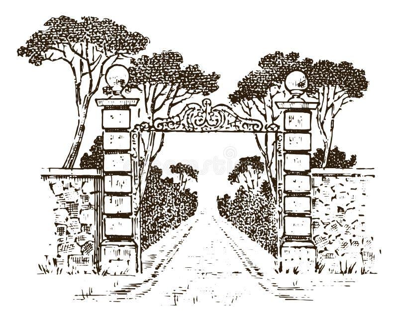 Uitstekende poorten Victoriaanse deuren of een oude boog Ingang aan de tuin of het park op de achtergrond van bomen vector illustratie