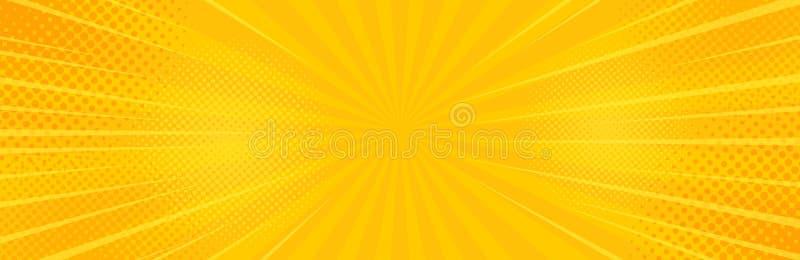 Uitstekende pop-art gele achtergrond Bannervector royalty-vrije illustratie