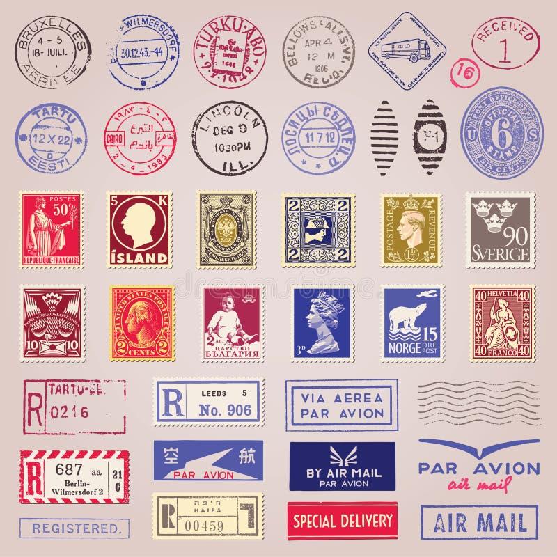 Uitstekende Postzegels, Tekens en Stickers vector illustratie