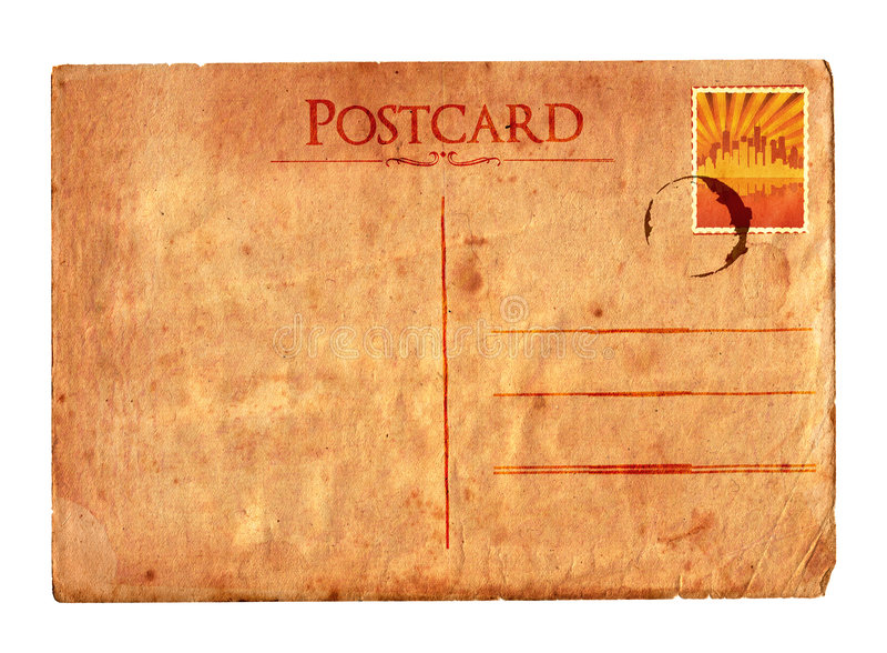 Uitstekende prentbriefkaar 02 (met zegel) royalty-vrije stock foto's