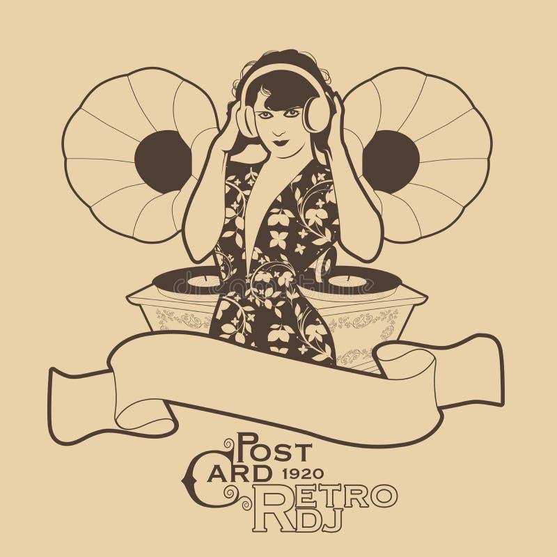 Uitstekende prentbriefkaar De Vrouwen retro stijl van DJ met hoofdtelefoons onder uitstekende grammofoons vector illustratie