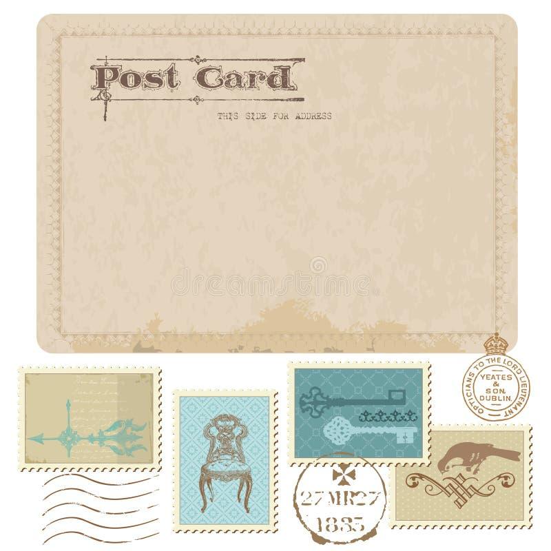 Uitstekende Prentbriefkaar en Postzegels stock illustratie