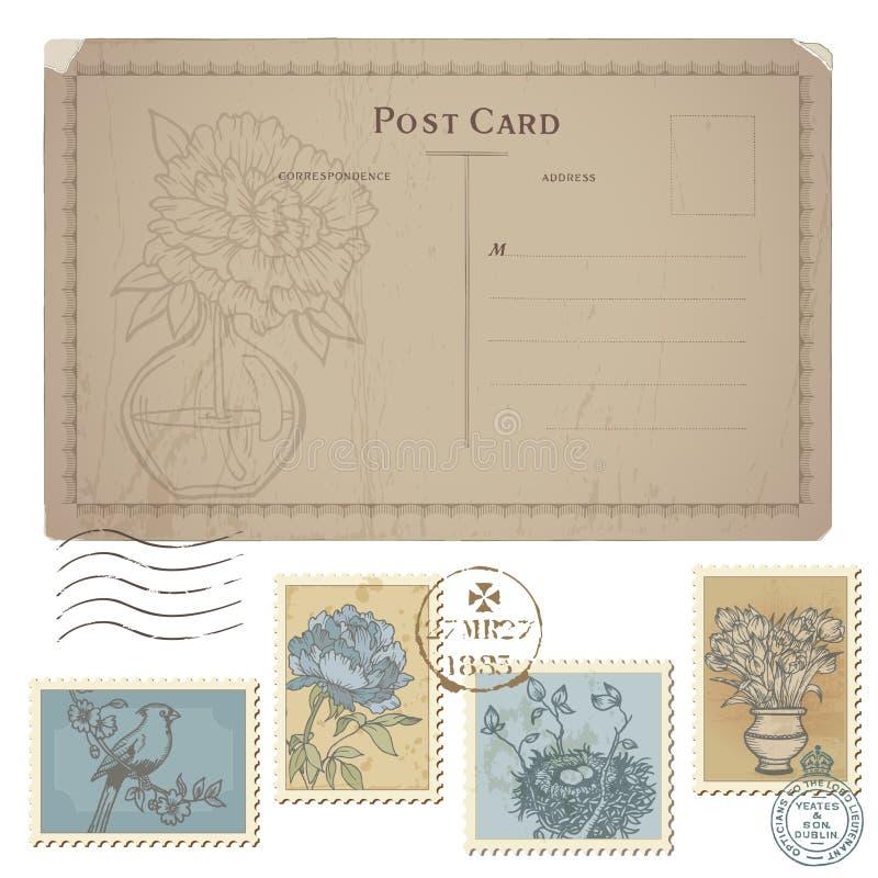 Uitstekende Prentbriefkaar en Reeks Postzegels stock illustratie