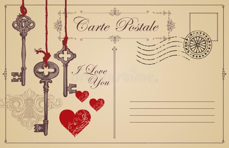 Uitstekende prentbriefkaar het thema van verklaring van liefde stock illustratie