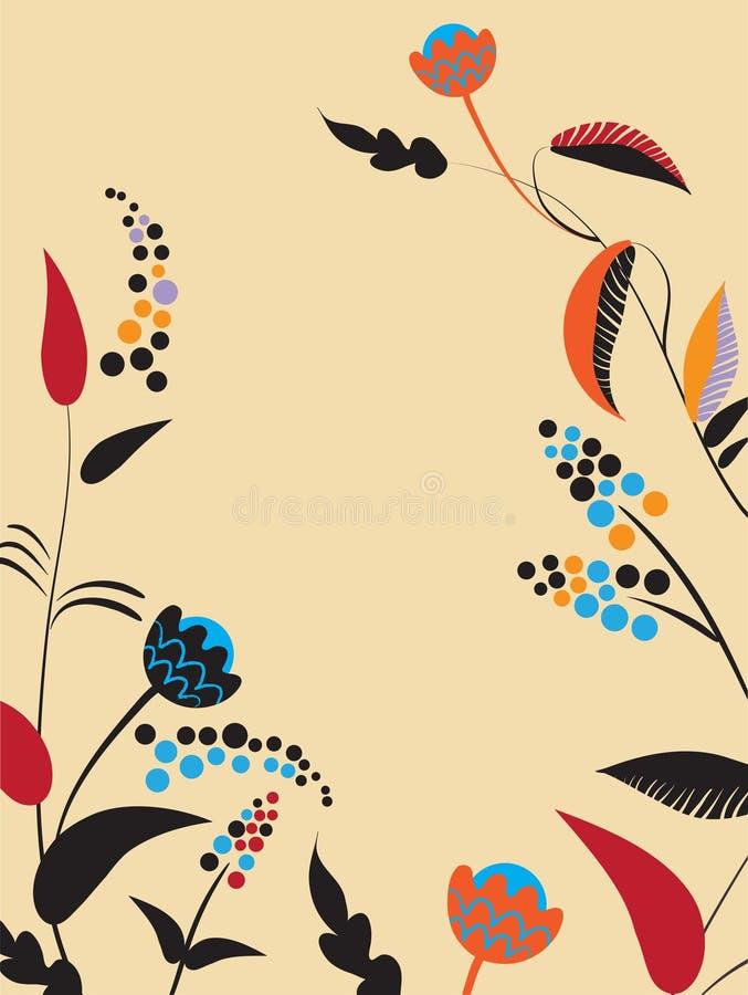 Uitstekende prentbriefkaar met bloemen. vector illustratie vector illustratie