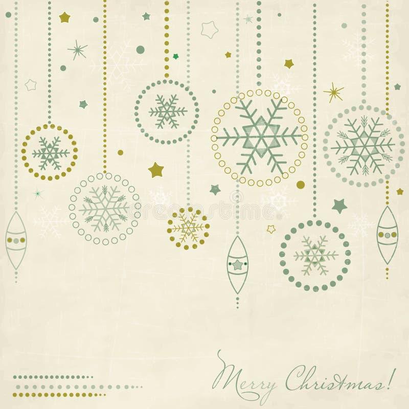 Uitstekende prentbriefkaar met de elementen van Kerstmis vector illustratie
