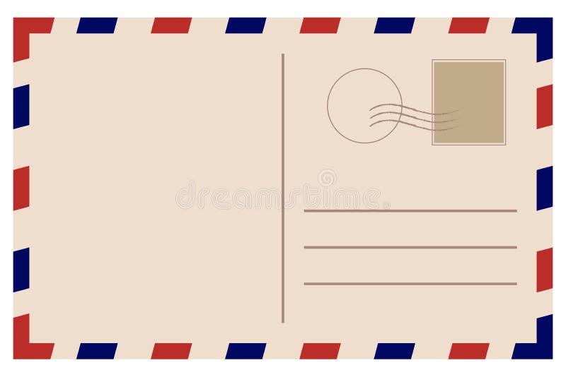 Uitstekende prentbriefkaar Oud Malplaatje Retro luchtpostenvelop met zegel royalty-vrije illustratie