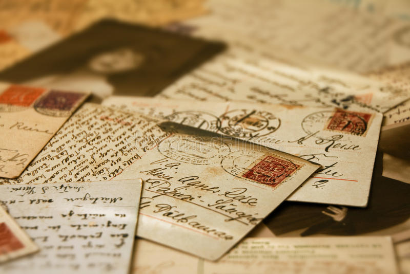 Uitstekende prentbriefkaaren stock afbeelding