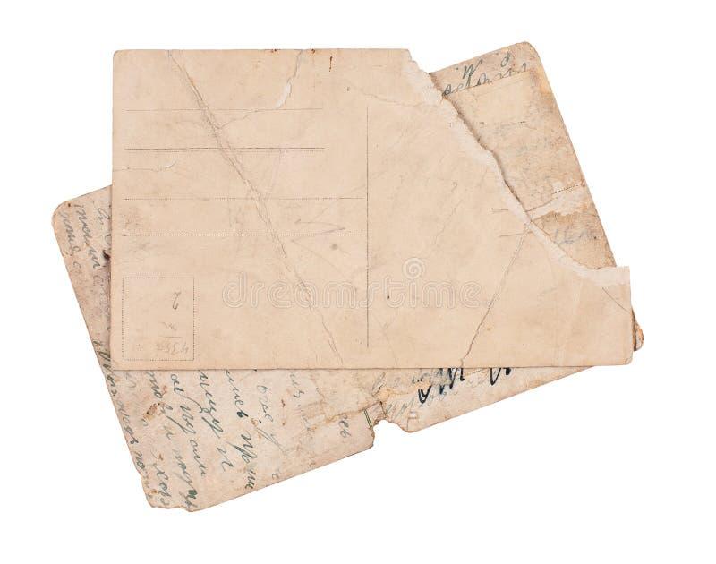 Uitstekende prentbriefkaaren die op wit worden geïsoleerd? stock afbeeldingen