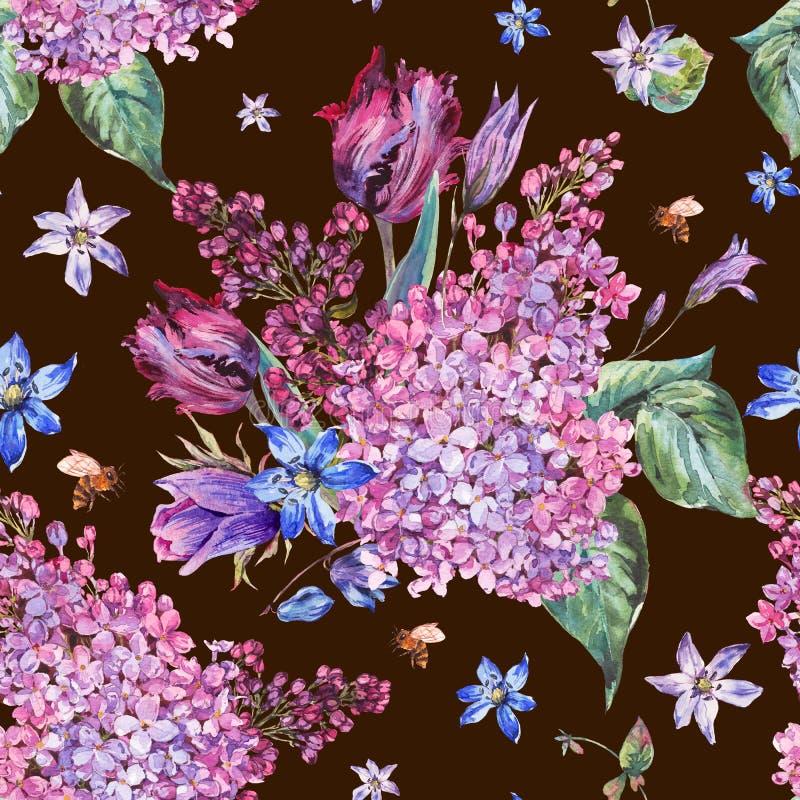 Uitstekende purpere bloemen de lente naadloze backgrou van de tuinwaterverf vector illustratie