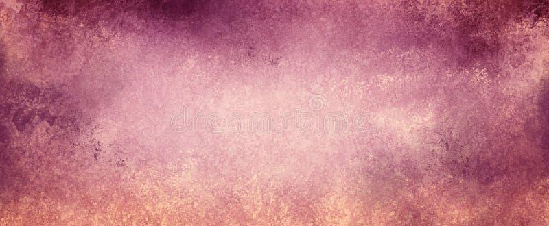 Uitstekende purpere en roze achtergrond op langzaam verdwenen beige document met grunge geweven grenzen met schilverf royalty-vrije illustratie