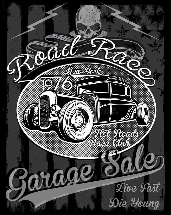 Uitstekende raceauto voor druk De vector oude affiche van het schoolras royalty-vrije illustratie
