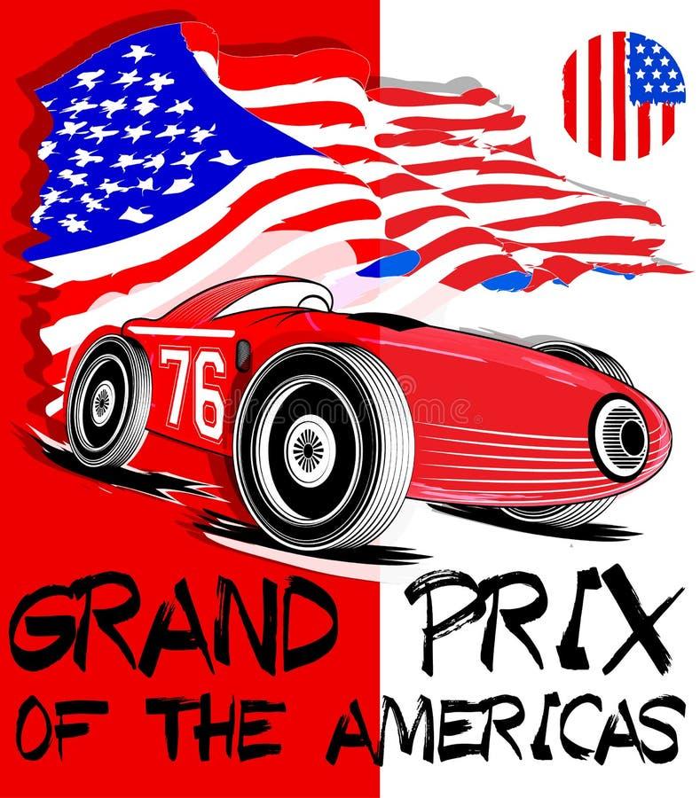 Uitstekende raceauto voor druk De vector oude affiche van het schoolras stock illustratie