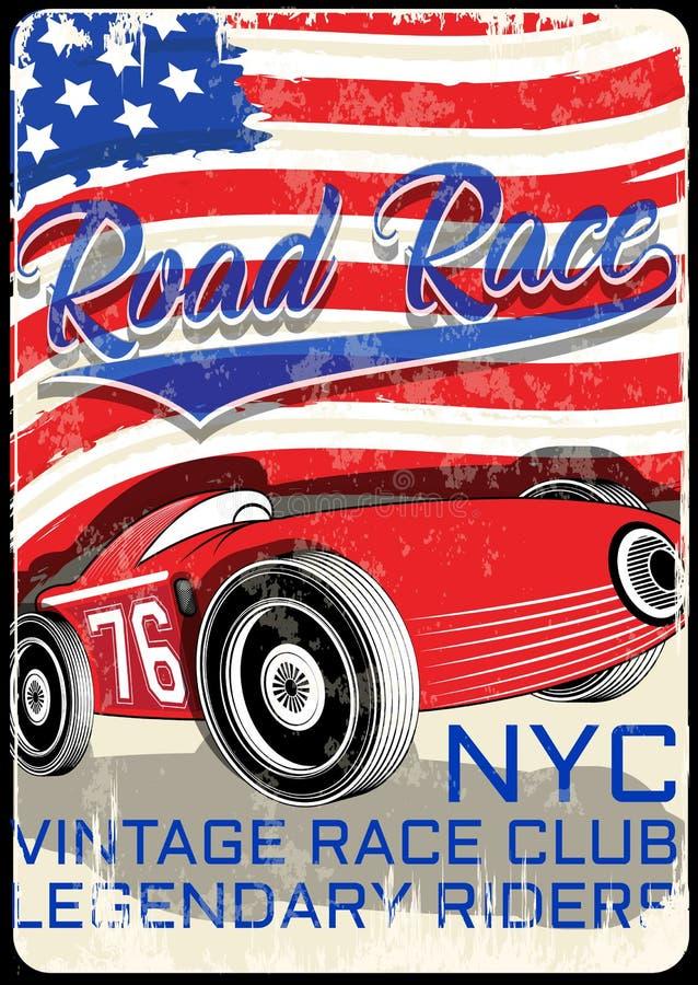 Uitstekende raceauto voor druk De vector oude affiche van het schoolras Retr stock illustratie