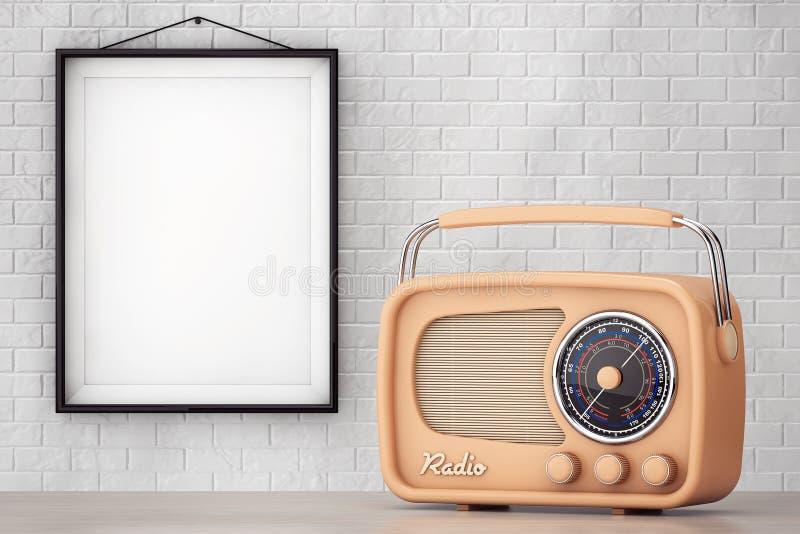 Uitstekende Radio voor Bakstenen muur met Leeg Kader stock illustratie