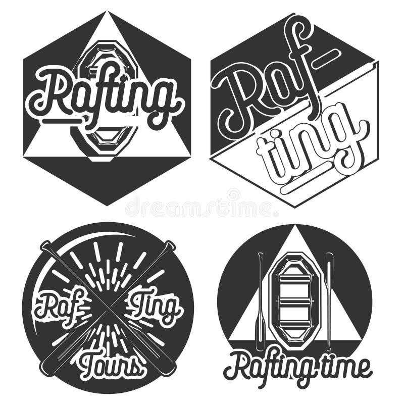 Uitstekende rafting emblemen stock illustratie