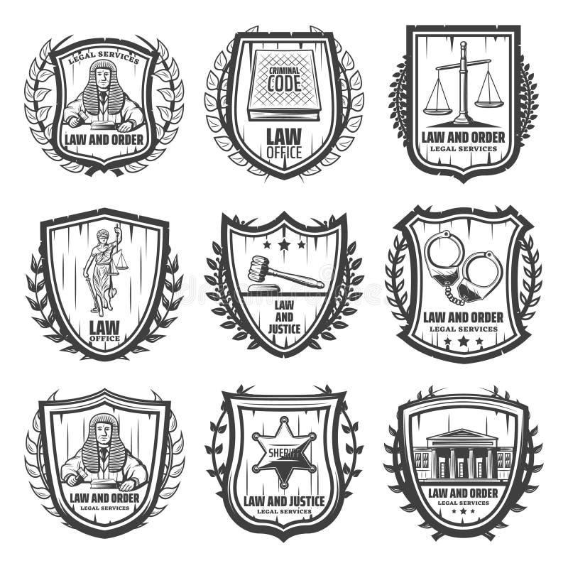 Uitstekende Rechtvaardigheid Emblems Set vector illustratie