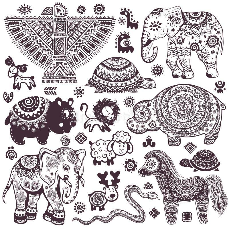 Uitstekende reeks geïsoleerde etnische dieren en symbolen royalty-vrije illustratie