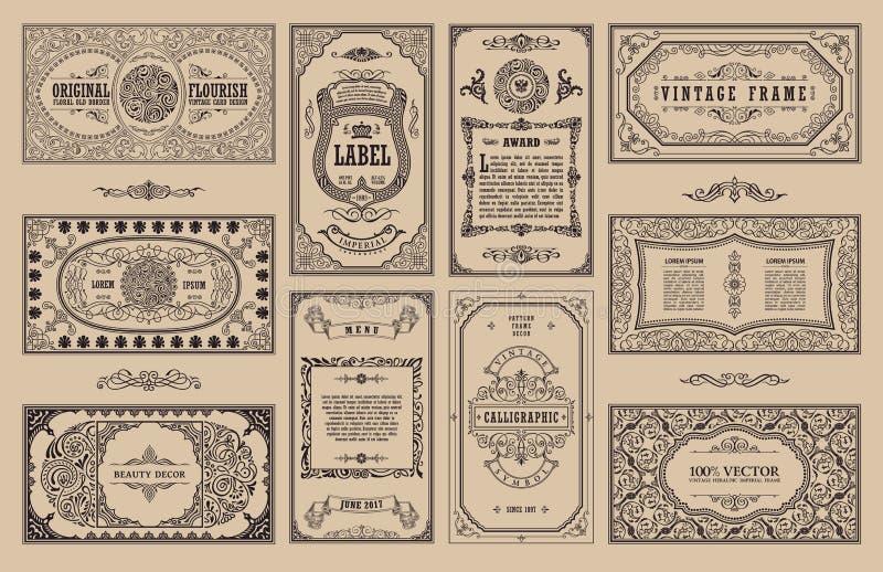Uitstekende reeks retro kaarten De uitnodiging van het de kaarthuwelijk van de malplaatjegroet Lijn kalligrafische kaders vector illustratie