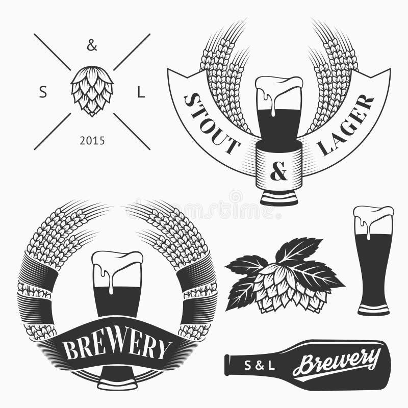 Uitstekende reeks van brouwerijemblemen, etiketten en ontwerpelement Voorraadvector stock illustratie