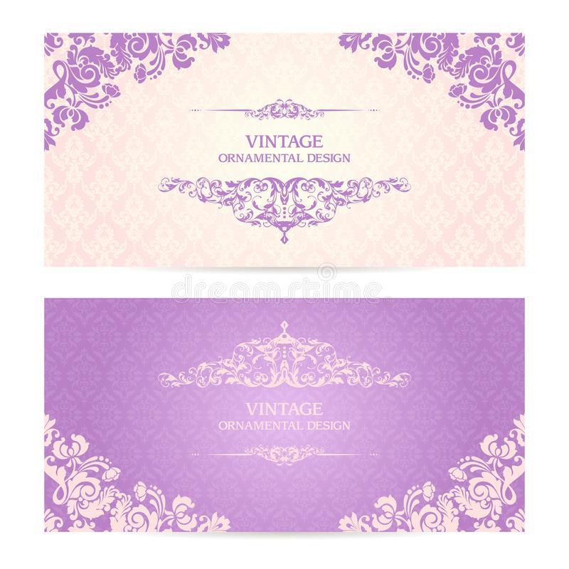 Uitstekende reeks van malplaatje siergrenzen en gevormde achtergrond Elegante van het de uitnodigingsontwerp van het kanthuwelijk royalty-vrije illustratie