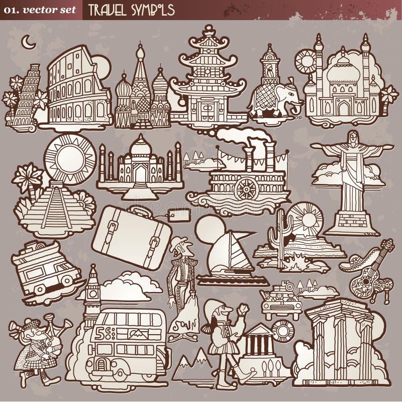 Uitstekende reissymbolen stock illustratie