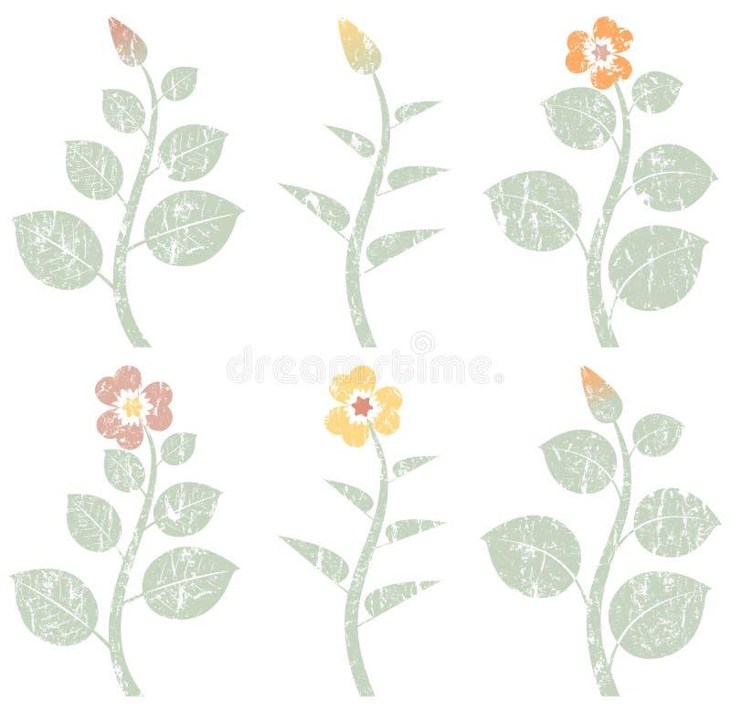 Uitstekende retro abstracte bloemen, grunge ontwerpelementen stock illustratie