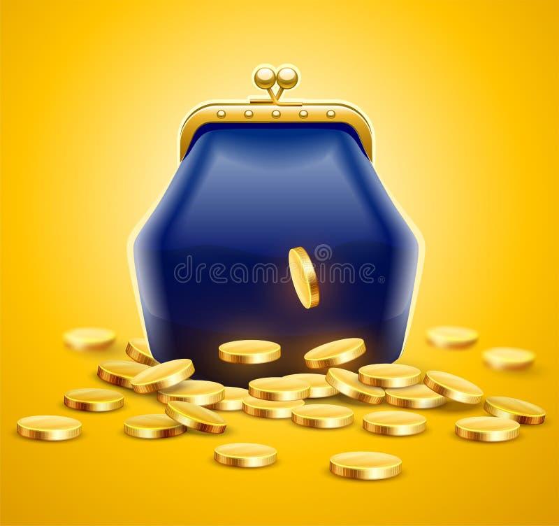 Uitstekende retro beurs voor geld met gouden muntstukken stock illustratie