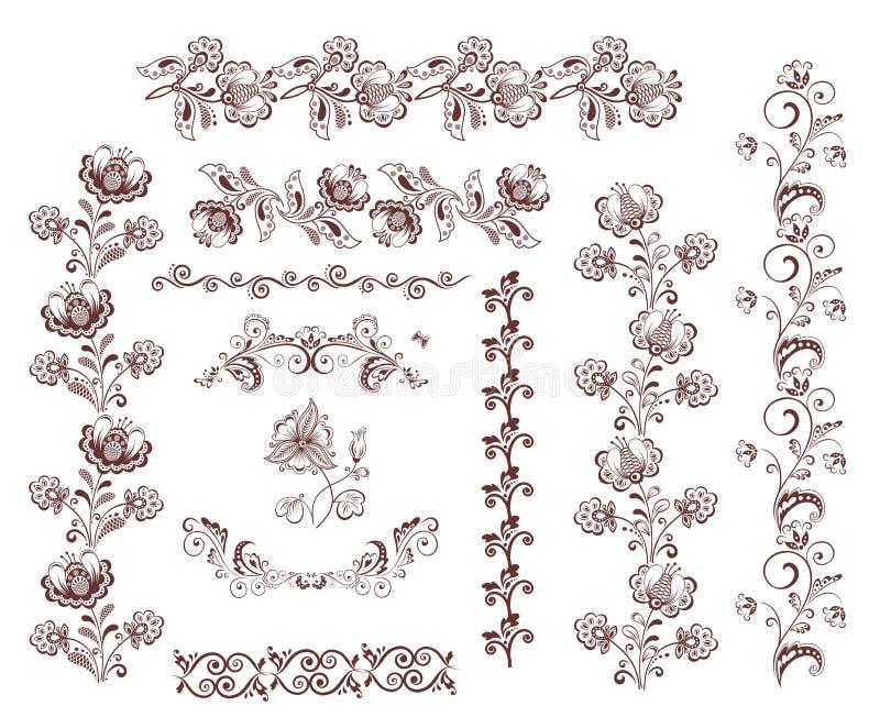 Uitstekende retro bloemen naadloze grenzen en ontwerpelementen stock illustratie