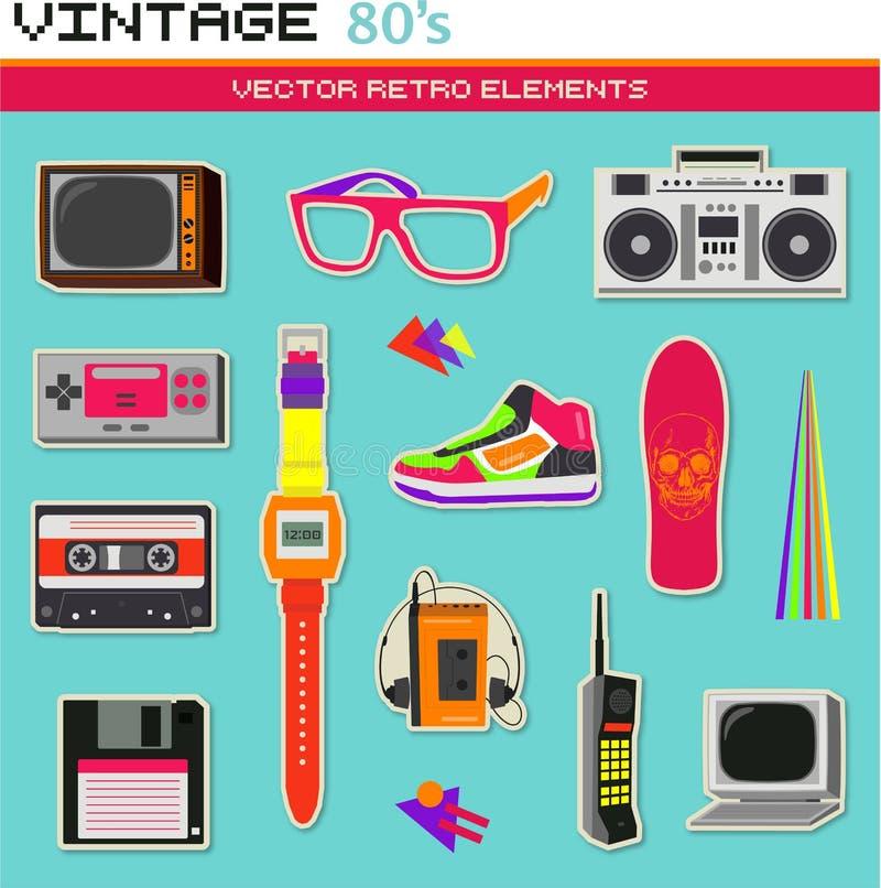 Uitstekende retro de jaren '80 vectorelementen royalty-vrije illustratie