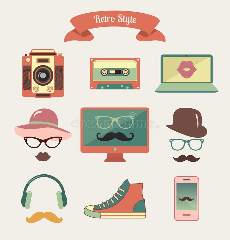 Uitstekende Retro Hipster-Stijlmedia Pictogrammen royalty-vrije illustratie