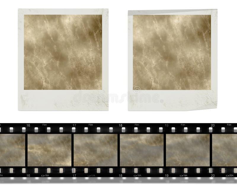 Uitstekende retro onmiddellijke fotoframes en film royalty-vrije illustratie