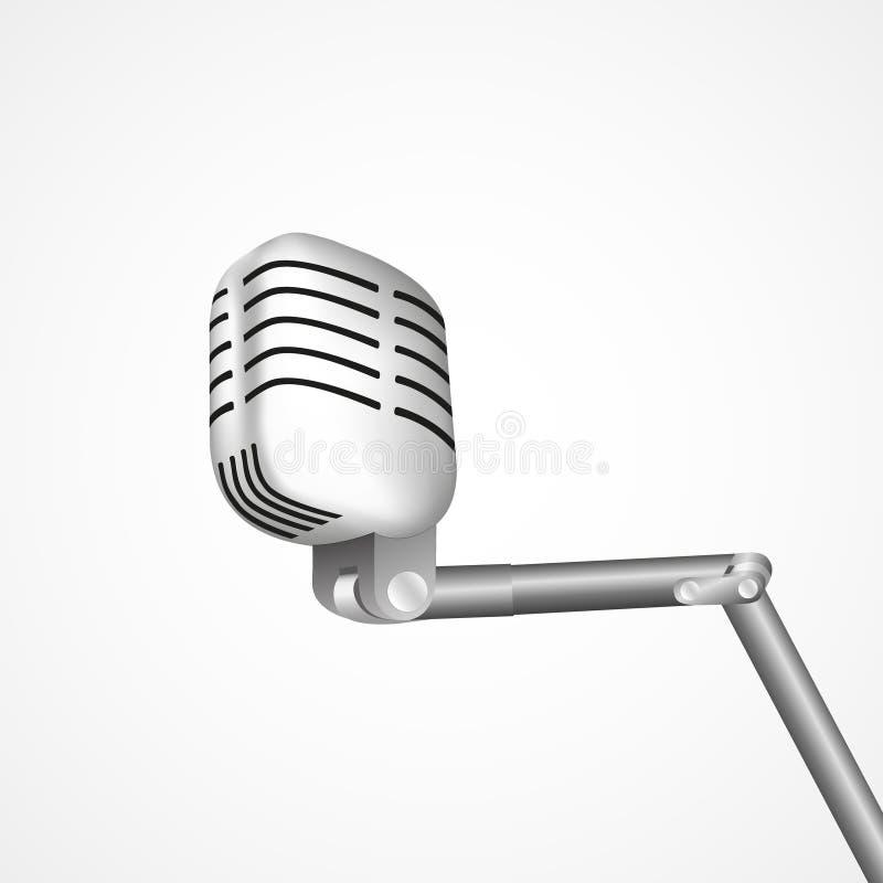Uitstekende retro stadiummicrofoon - Webpictogram oud technologieobjecten concept Ontwerpteken, de vector geïsoleerde illustratie stock illustratie
