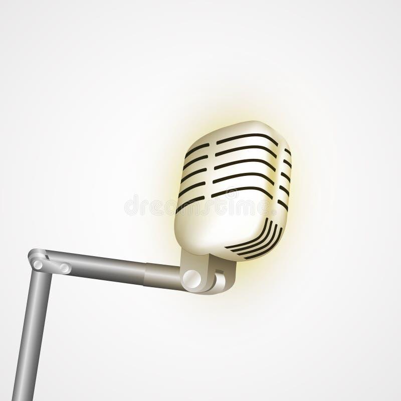 Uitstekende retro stadiummicrofoon - Webpictogram oud technologieobjecten concept Ontwerpteken, de vector geïsoleerde illustratie vector illustratie