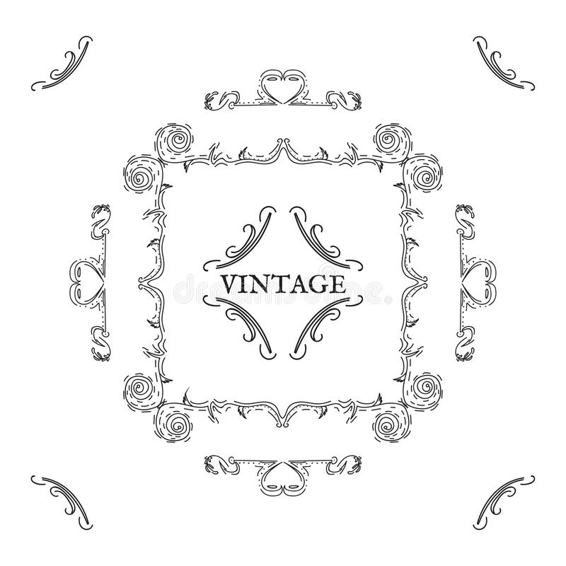 Uitstekende, retro stijl Vectorontwerpelementen en het van letters voorzien, blac stock illustratie