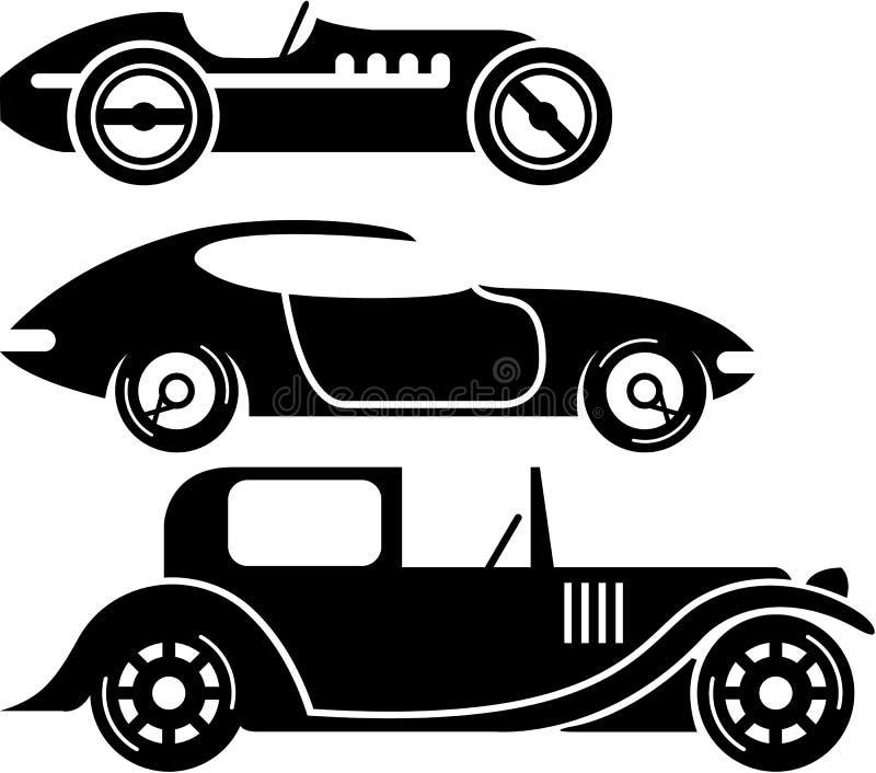 Uitstekende retro van autorennencoupé en limo eenvoudige vector stock illustratie