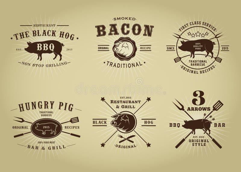 Uitstekende Retro Varkensvleesverbindingen royalty-vrije illustratie