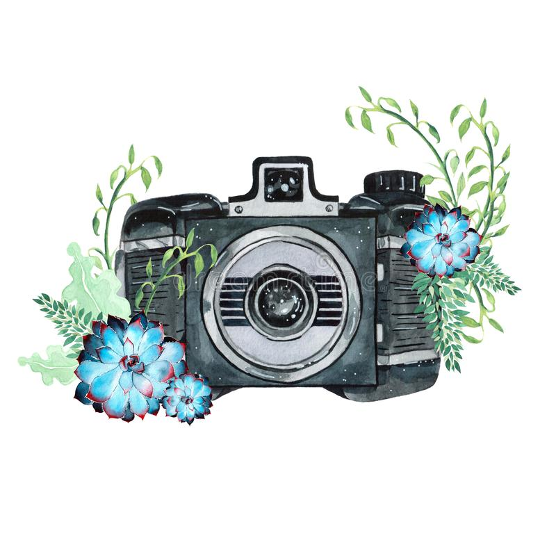 Uitstekende retro waterverfcamera Perfectioneer voor fotografieembleem stock illustratie