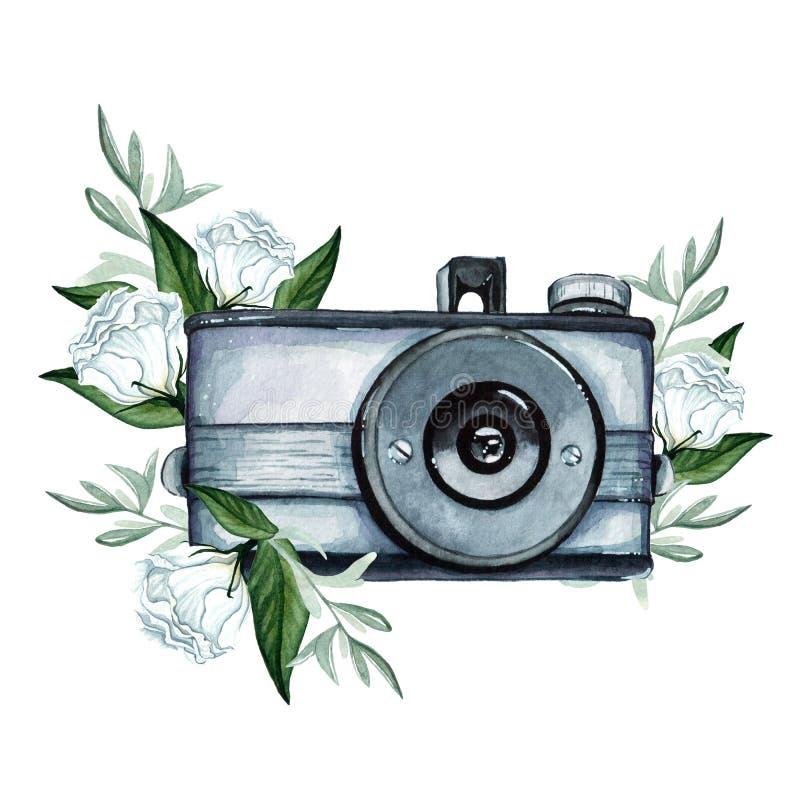 Uitstekende retro waterverfcamera Perfectioneer voor fotografieembleem royalty-vrije illustratie