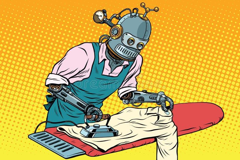 Uitstekende robotwerknemer gestreken kleren vector illustratie