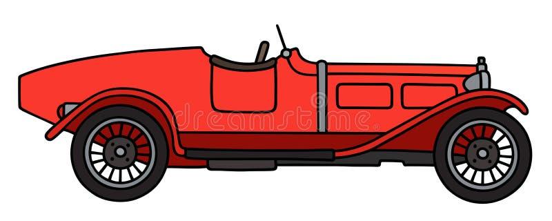 Uitstekende rode open tweepersoonsauto vector illustratie
