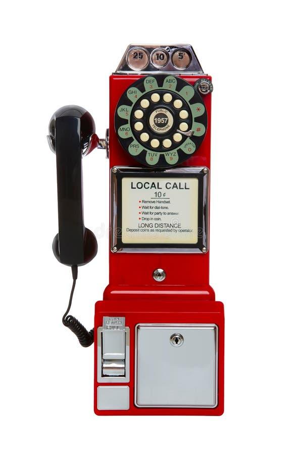Uitstekende Rode Publieke telefooncel royalty-vrije stock fotografie