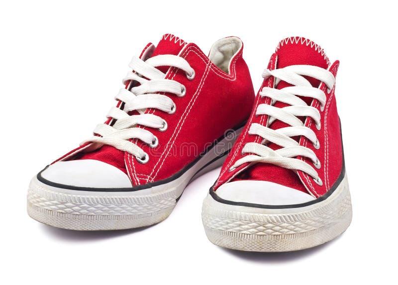Uitstekende rode schoenen royalty-vrije stock foto's