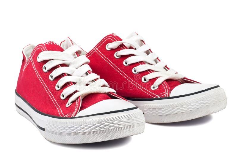 Uitstekende rode schoenen royalty-vrije stock afbeeldingen