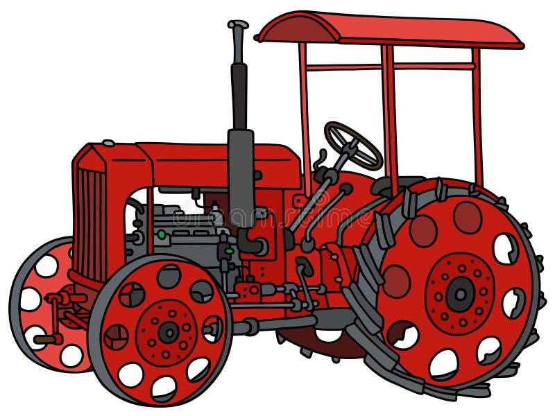 Uitstekende rode tractor royalty-vrije illustratie