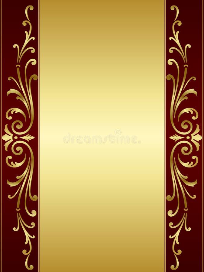 Uitstekende rolachtergrond in rode gouden royalty-vrije illustratie